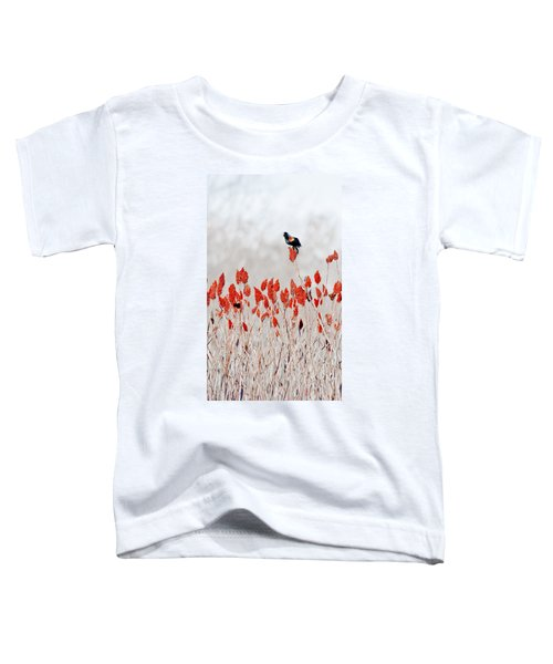 Red Winged Blackbird On Sumac Toddler T-Shirt