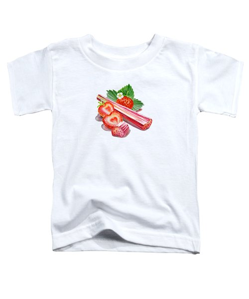 Toddler T-Shirt featuring the painting Rhubarb Strawberry by Irina Sztukowski