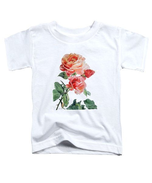 Watercolor Of Red Roses On A Stem I Call Rose Maurice Corens Toddler T-Shirt