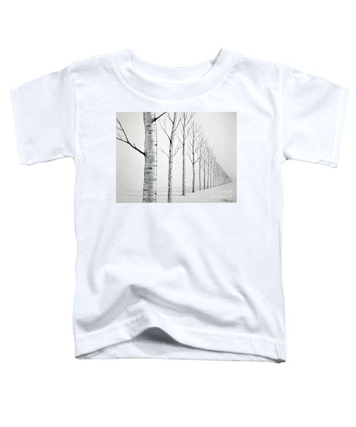 Row Of Birch Trees In The Snow Toddler T-Shirt