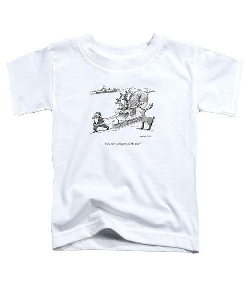 Santa Claus Pulls A Sleigh Full Of Reindeer Toddler T-Shirt