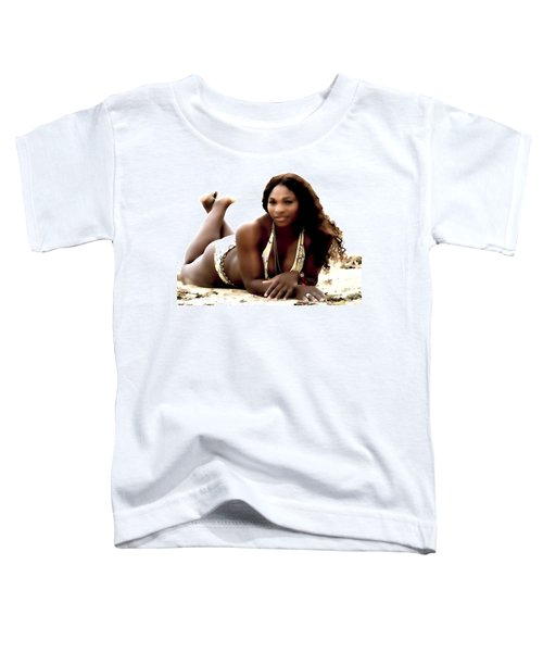 Serena Williams In The Sand Toddler T-Shirt by Brian Reaves