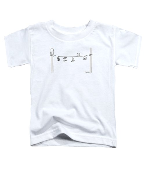 Several Pairs Of Shoes Dangle Over An Electrical Toddler T-Shirt