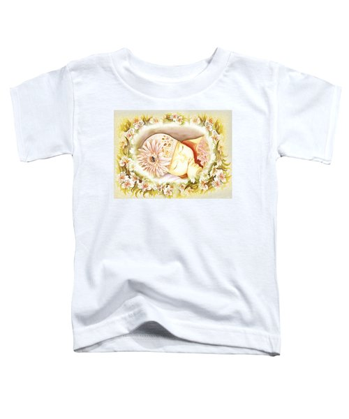 Toddler T-Shirt featuring the painting Sleeping Baby Vintage Dreams by Irina Sztukowski