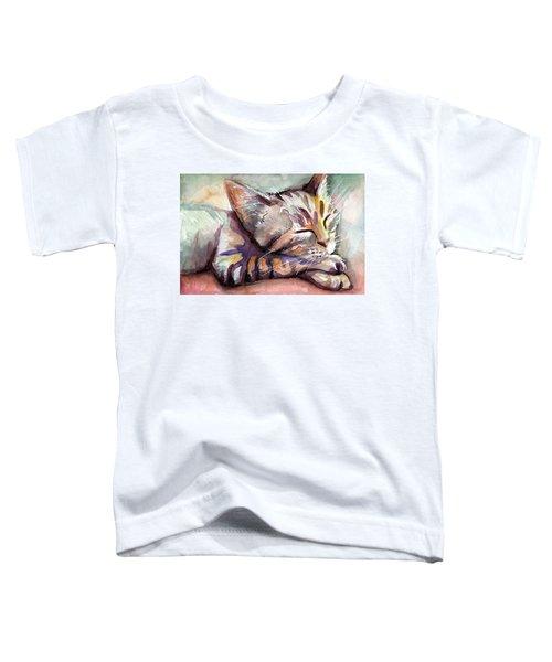 Sleeping Kitten Toddler T-Shirt by Olga Shvartsur