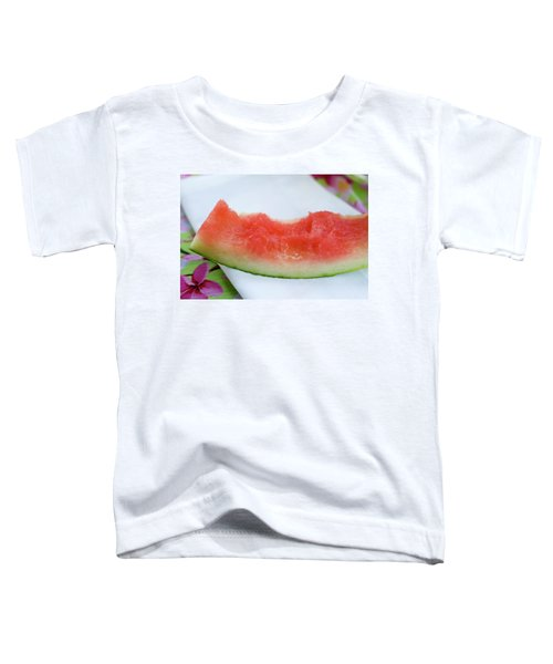 Slice Of Watermelon With Bites Taken On Fabric Napkin Toddler T-Shirt