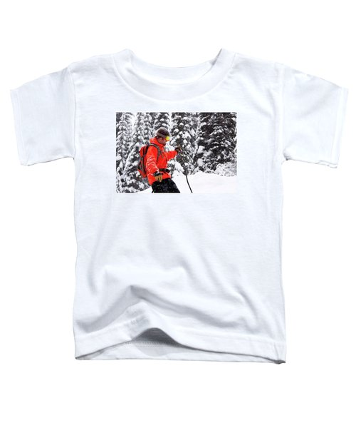 Smiling Male Skier On A Snowy Landscape Toddler T-Shirt