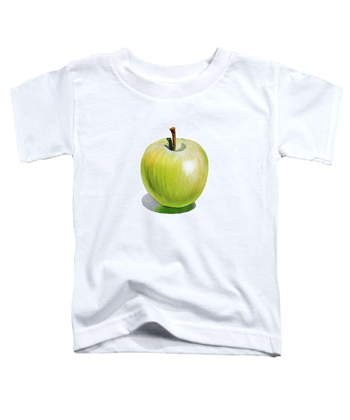 Toddler T-Shirt featuring the painting Sun Kissed Green Apple by Irina Sztukowski