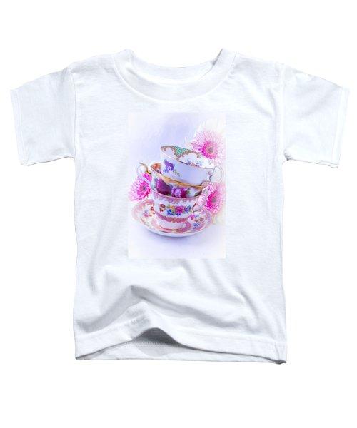Tea Cups With Pink Mums Toddler T-Shirt