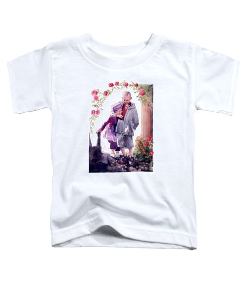 Watercolor Of A Boy And Girl In Their Secret Garden Toddler T-Shirt