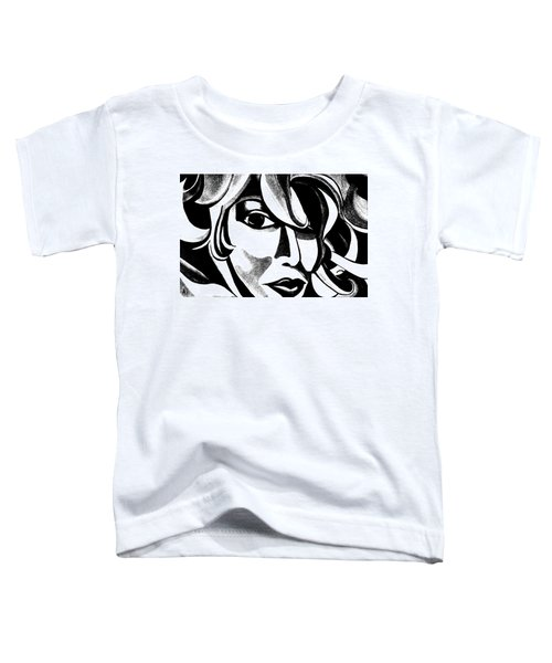 Black And White Abstract Woman Face Art Toddler T-Shirt