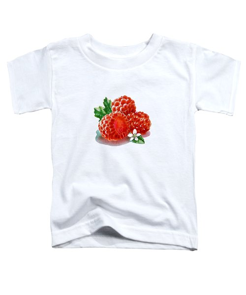 Toddler T-Shirt featuring the painting Three Happy Raspberries by Irina Sztukowski