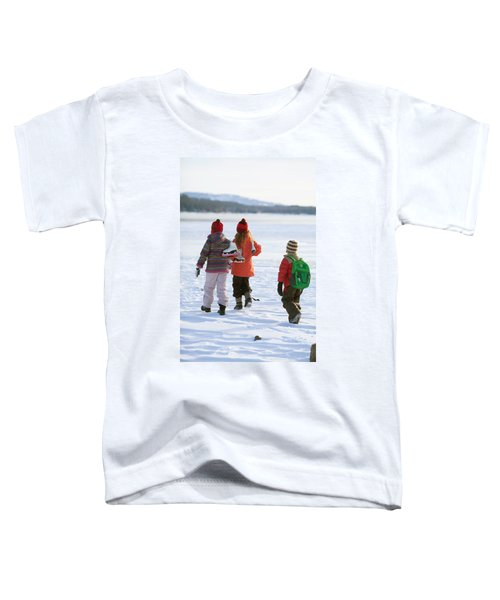 Three Kids Heading Out To Ice Skate Toddler T-Shirt