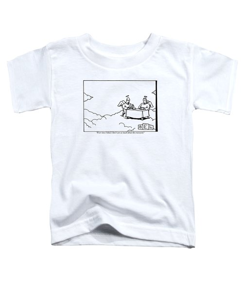 Two Angels Are Seen Sitting At A Table Toddler T-Shirt