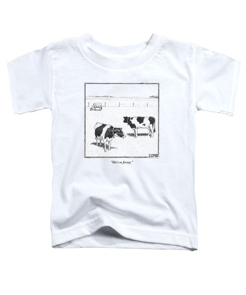 Two Spotted Cows Looking At A Jersey Cow Toddler T-Shirt