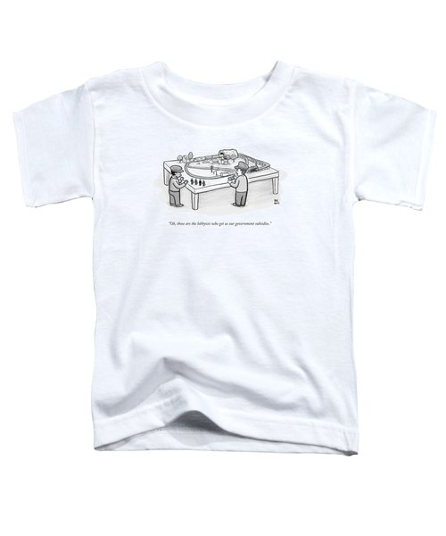 Two Children Play With A Toy Train Set Toddler T-Shirt