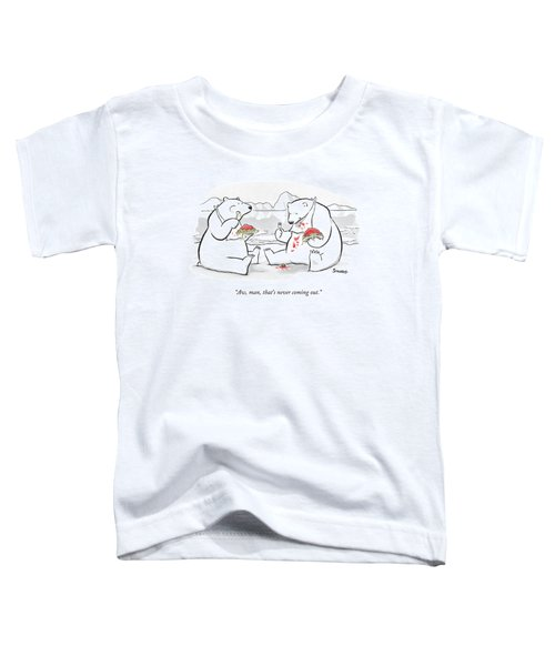 Two Polar Bears Eat Spaghetti And Meatballs.  One Toddler T-Shirt