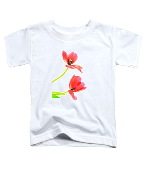 Two Red Transparent Flowers Toddler T-Shirt