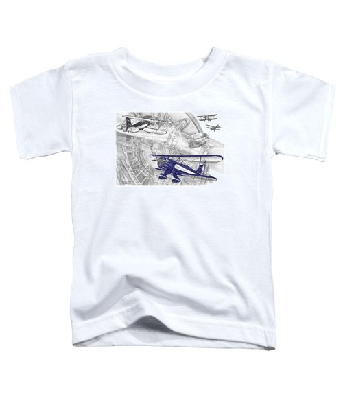 Waco Ymf - Vintage Biplane Aviation Art With Color Toddler T-Shirt