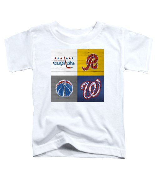 Washington Dc Sports Fan Recycled Vintage License Plate Art Capitals Redskins Wizards Nationals Toddler T-Shirt