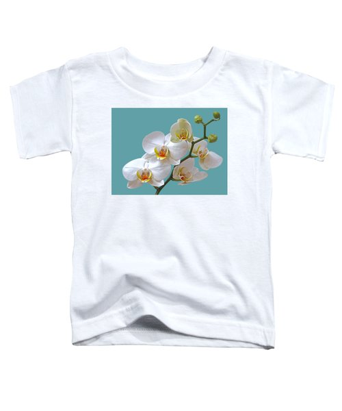 White Orchids On Ocean Blue Toddler T-Shirt
