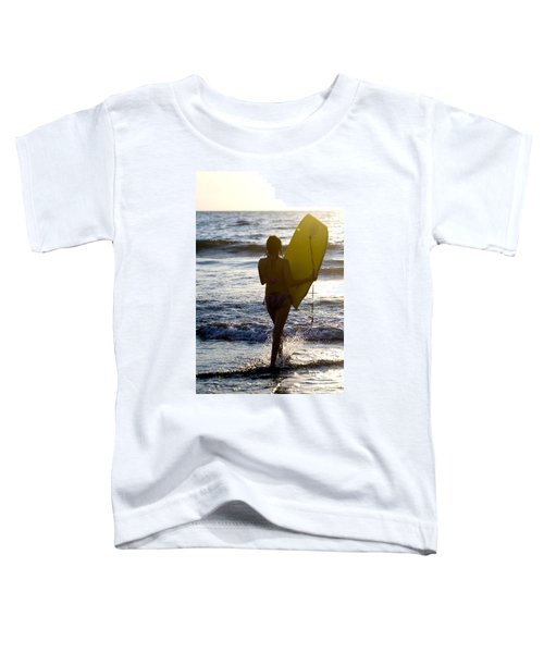 Woman On Beach Carrying Bodyboard Toddler T-Shirt