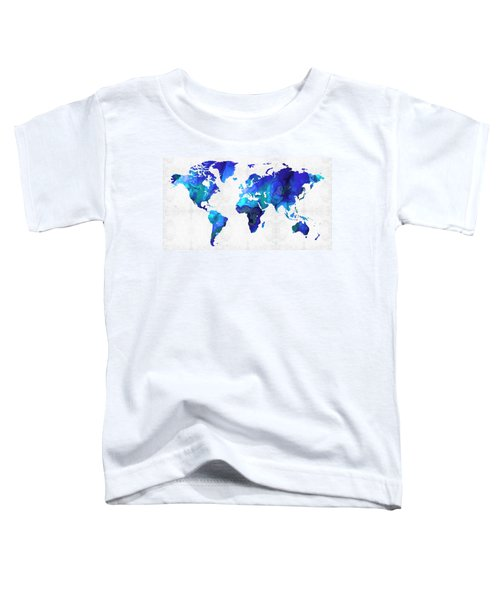 World Map 17 - Blue Art By Sharon Cummings Toddler T-Shirt