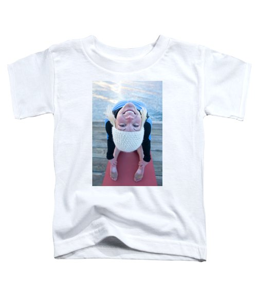Young Woman Doing Yoga On Pier In Tahoe Toddler T-Shirt