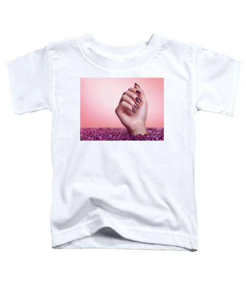 Woman Hand With Purple Nail Polish Toddler T-Shirt