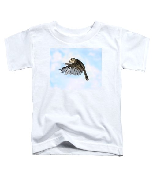 Tufted Titmouse In Flight Toddler T-Shirt by Ted Kinsman