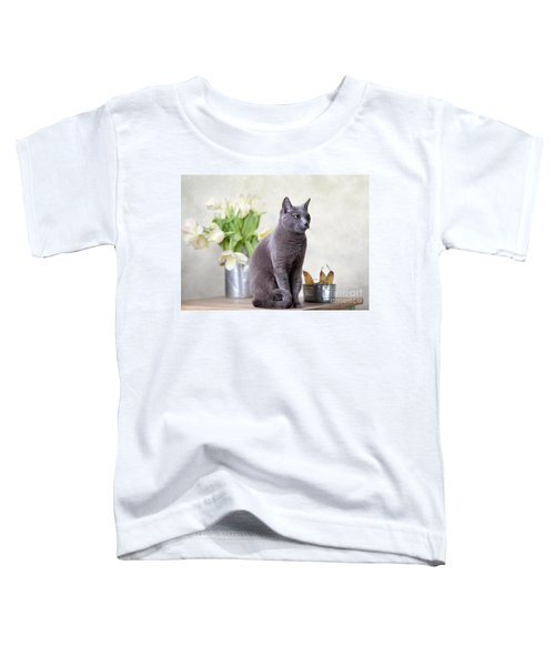 Cat And Tulips Toddler T-Shirt