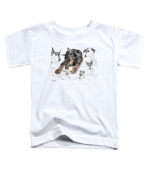 Dober-thoughts - Doberman Pinscher Montage Print Color Tinted Toddler T-Shirt