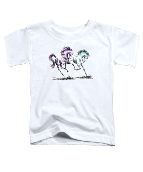 Frolicking - Wild Horses Print Color Tinted Toddler T-Shirt