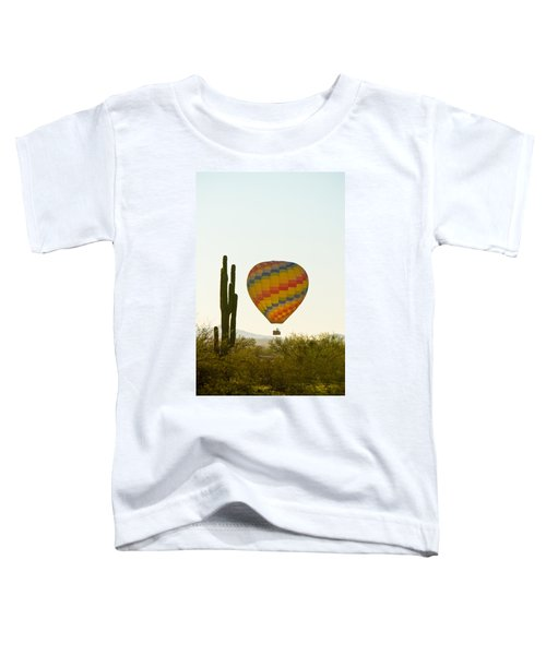 Hot Air Balloon In The Arizona Desert With Giant Saguaro Cactus Toddler T-Shirt