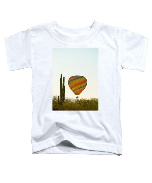 Hot Air Balloon In The Arizona Desert With Giant Saguaro Cactus Toddler T-Shirt