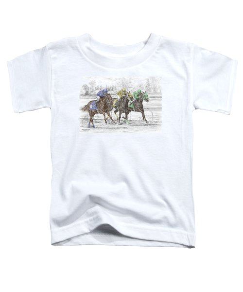 Neck And Neck - Horse Race Print Color Tinted Toddler T-Shirt