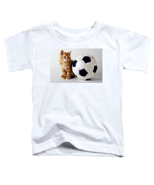Orange And White Kitten With Soccor Ball Toddler T-Shirt