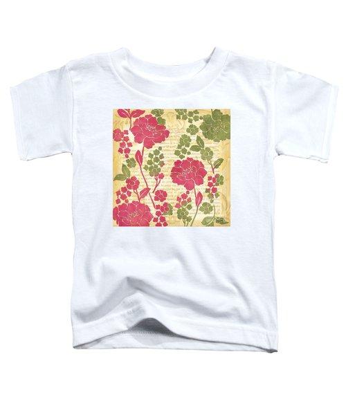 Raspberry Sorbet Floral 1 Toddler T-Shirt by Debbie DeWitt
