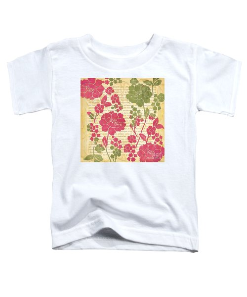Raspberry Sorbet Floral 2 Toddler T-Shirt by Debbie DeWitt