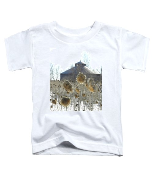 Round Barn With Sunflowers Toddler T-Shirt