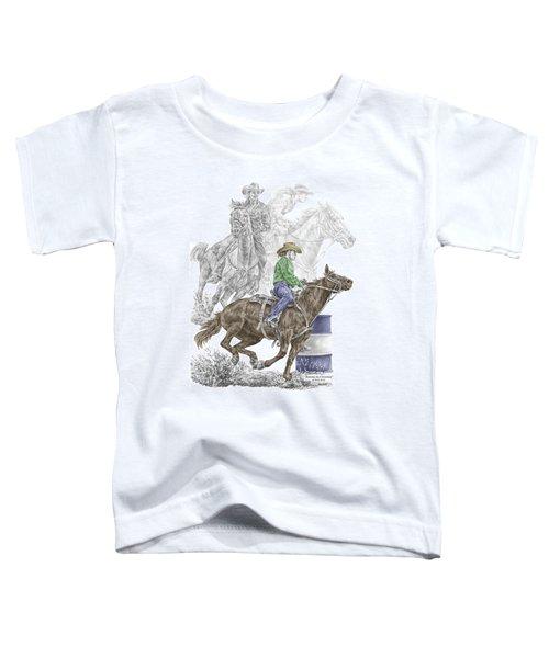 Running The Cloverleaf - Barrel Racing Print Color Tinted Toddler T-Shirt