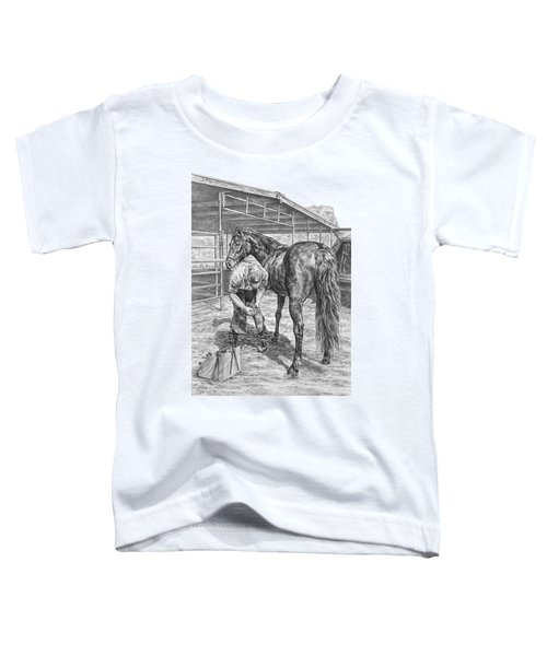 Trim And Fit - Farrier With Horse Art Print Toddler T-Shirt
