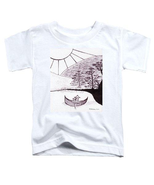 Zen Sumi Asian Lake Fisherman Black Ink On White Canvas Toddler T-Shirt