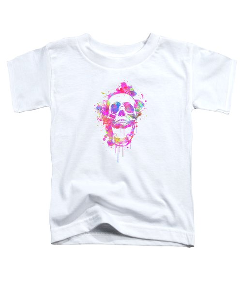 Cool And Trendy Pink Watercolor Skull Toddler T-Shirt
