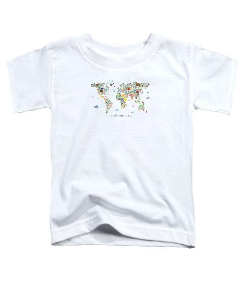 Animal Map Of The World For Children And Kids Toddler T-Shirt