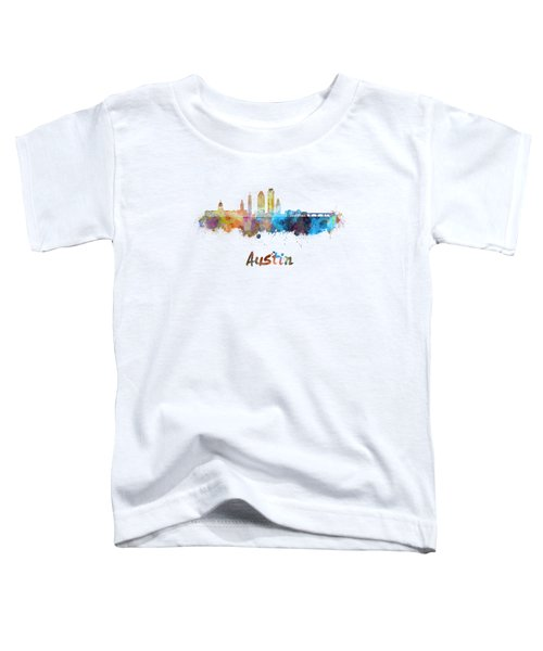 Austin Skyline In Watercolor Toddler T-Shirt by Pablo Romero