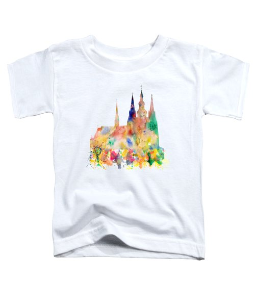 Cathedral Of Saint Vitus In The Prague Castle Watercolor Art Toddler T-Shirt