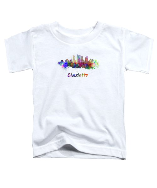 Charlotte Skyline In Watercolor Toddler T-Shirt