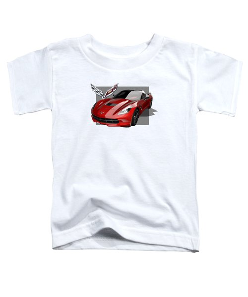 Chevrolet Corvette  C 7  Stingray With 3 D Badge  Toddler T-Shirt by Serge Averbukh