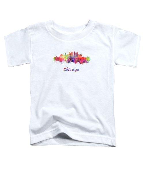 Chicago Skyline In Watercolor Toddler T-Shirt by Pablo Romero